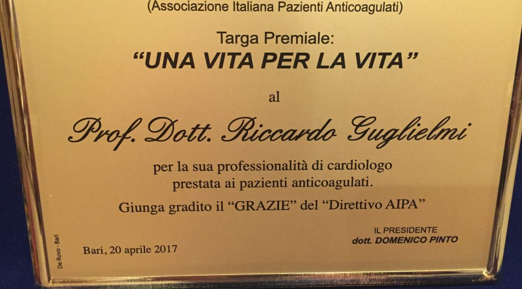 Targa premio a Riccardo Guglielmi